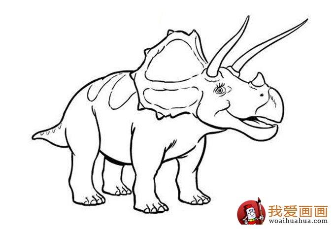 恐龍簡筆畫,兒童簡筆線描畫恐龍圖片大圖10張(3)