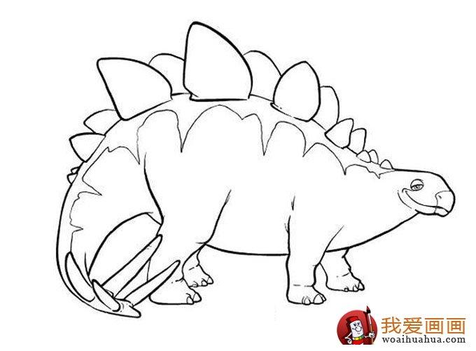 学画画 儿童画教程 简笔画 > 恐龙简笔画,儿童简笔线描画恐龙图片大图