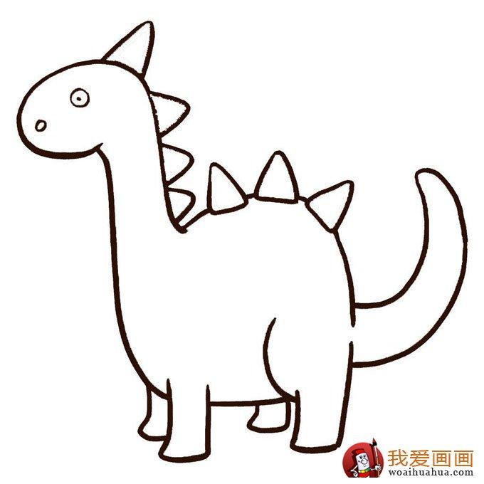 恐龙简笔画,儿童简笔线描画恐龙图片大图10张 4