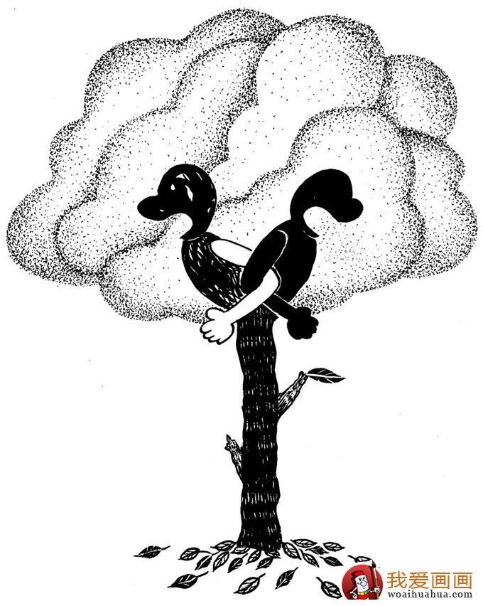 黑白手绘:一组环保题材的黑白手绘漫画图片欣赏(5)