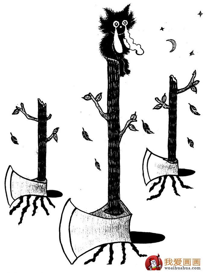 黑白手绘:一组环保题材的黑白手绘漫画图片欣赏(6)