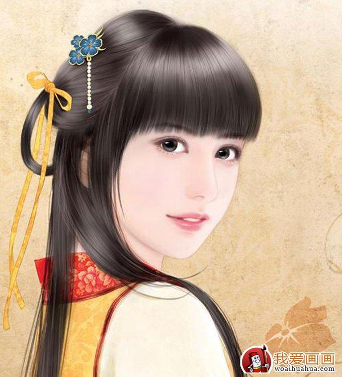 手绘美女头像人物画:手绘古装美女图片(3)