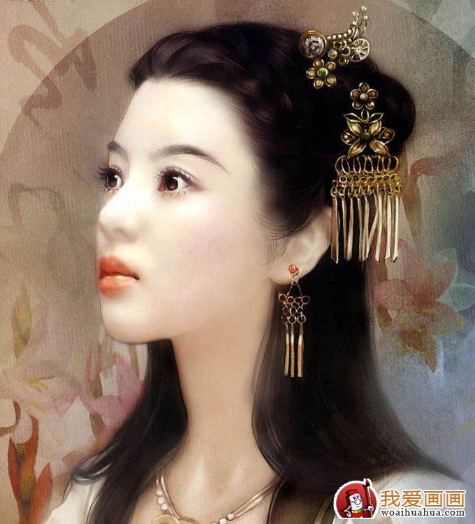手绘美女头像人物画:手绘古装美女图片