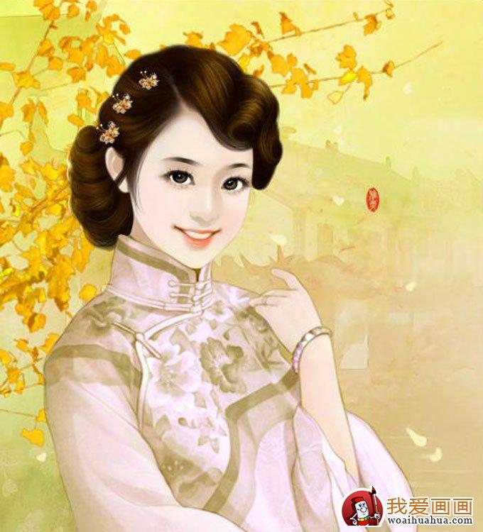手绘美女头像人物画:手绘古装美女图片(8)