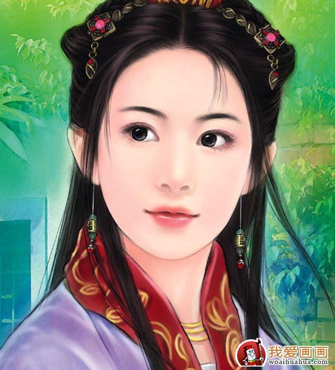 手绘美女头像人物画:手绘古装美女图片(7)