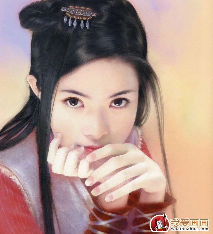 手绘美女头像人物画:手绘古装美女图片(9)