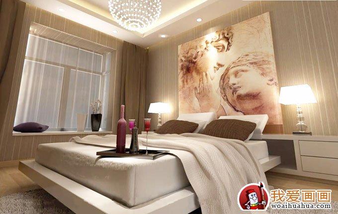 经典卧室手绘墙画效果图