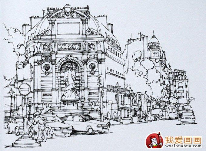 欧式建筑钢笔画风景手绘写生作品欣赏(6)图片