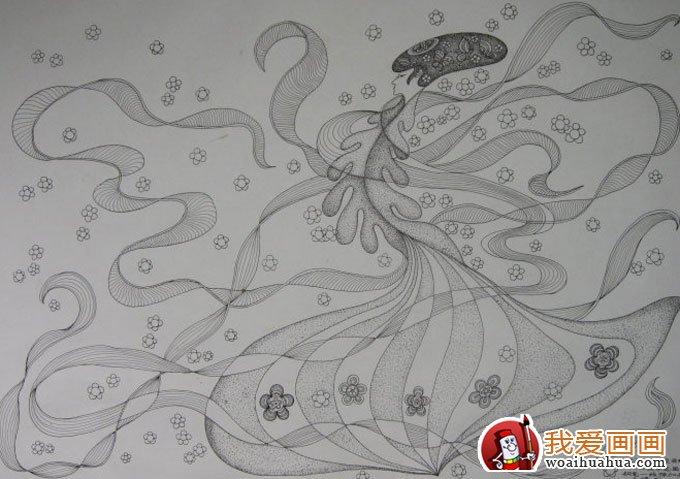 组民间装饰风格钢笔画手绘作品欣赏