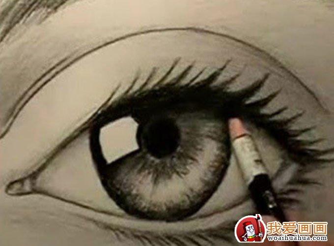 画眼睛素描的步骤图_画女生眼睛的步骤图_彩铅画眼睛的步骤图_银澜