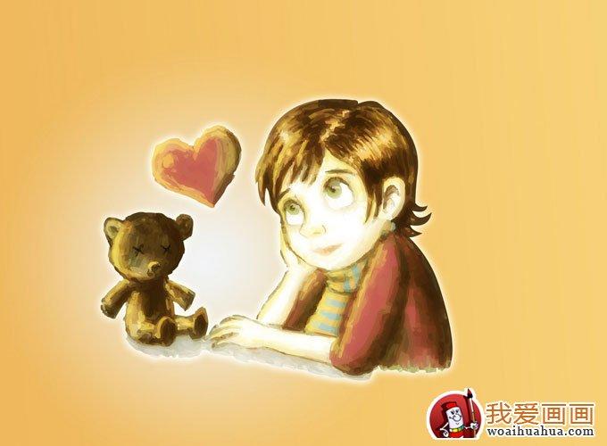 简单的儿童水彩画图片之可爱女孩卡通画(9)