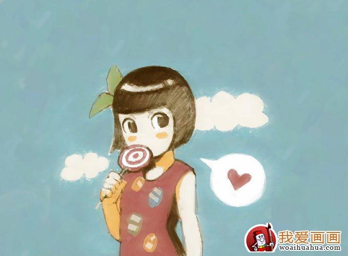 简单的儿童水彩画图片之可爱女孩卡通画(2)