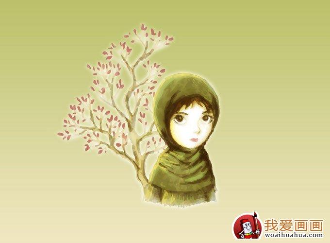简单的儿童水彩画图片之可爱女孩卡通画(3)