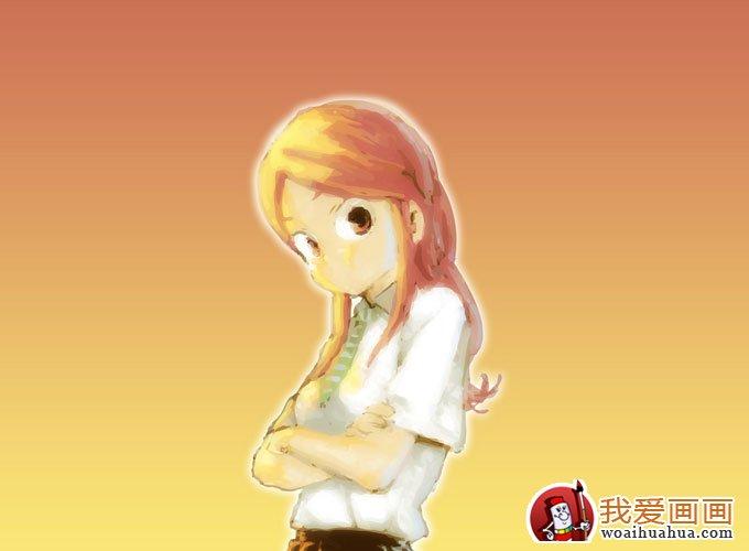 简单的儿童水彩画图片之可爱女孩卡通画(4)