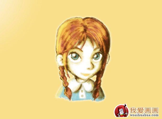 简单的可爱女生卡通水彩画(五)