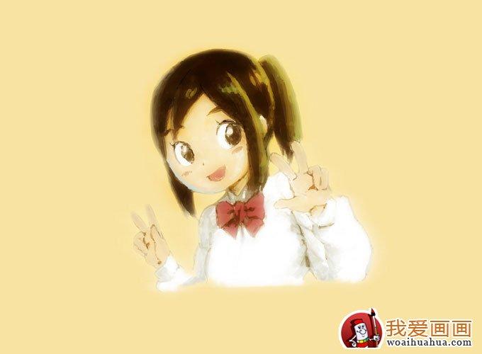 简单的可爱女生卡通水彩画(六)图片
