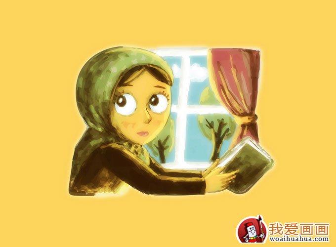 简单的可爱女生卡通水彩画(七)