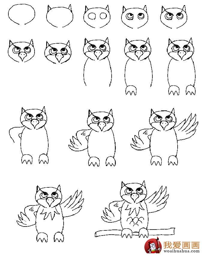 猫头鹰简笔画的画法步骤 高清图片