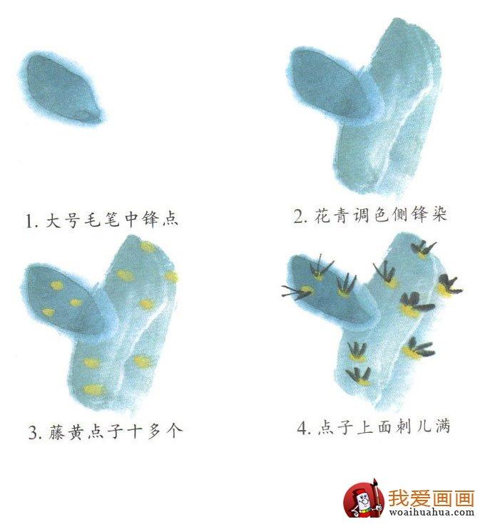 兒童學中國畫:畫仙人掌的步驟方法-兒童畫畫教程-我