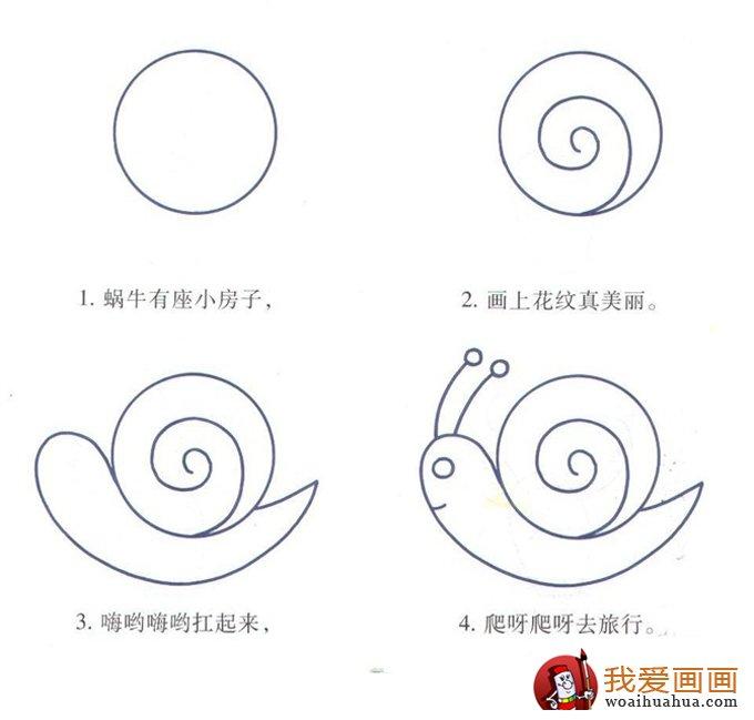 简笔画教程:蜗牛有座小房子