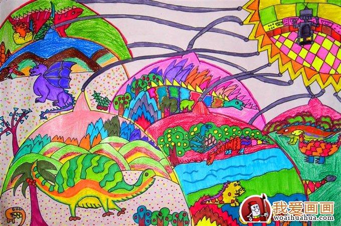 优秀科幻画作品图片欣赏:恐龙时代的地球