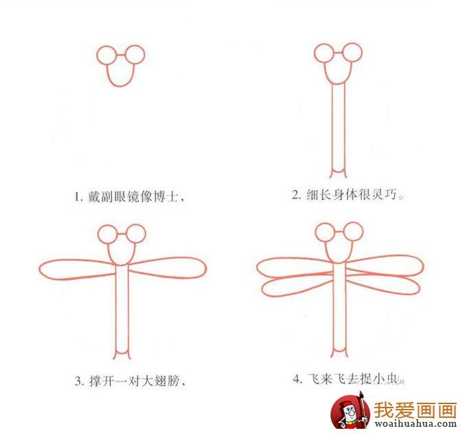 宝宝简笔画蜻蜓的画画步骤教程