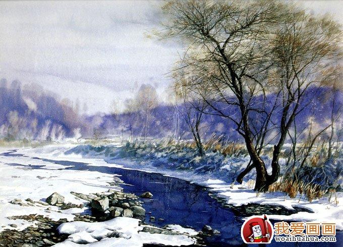 水彩画对雪景的描绘有它的独到之处
