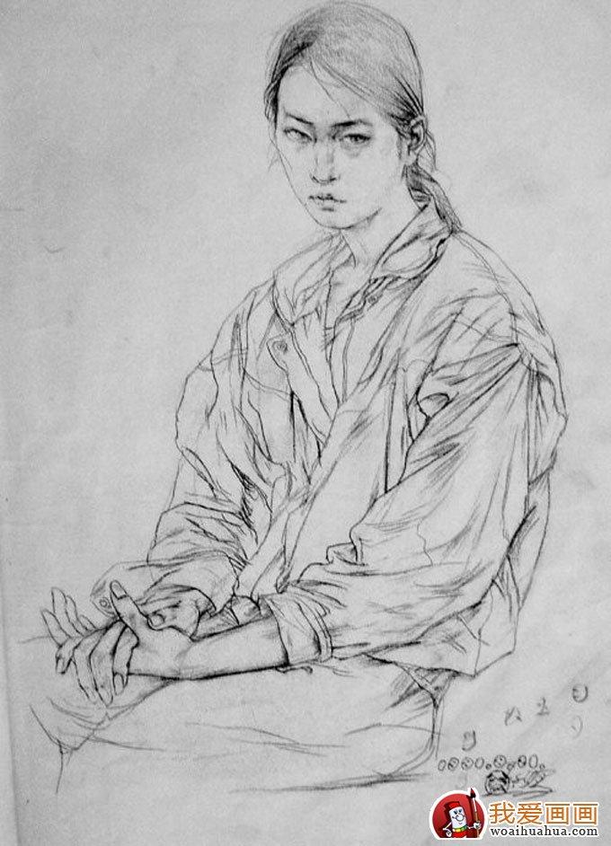 当代画家蔡玉水的全身人物速写作品15幅(15)