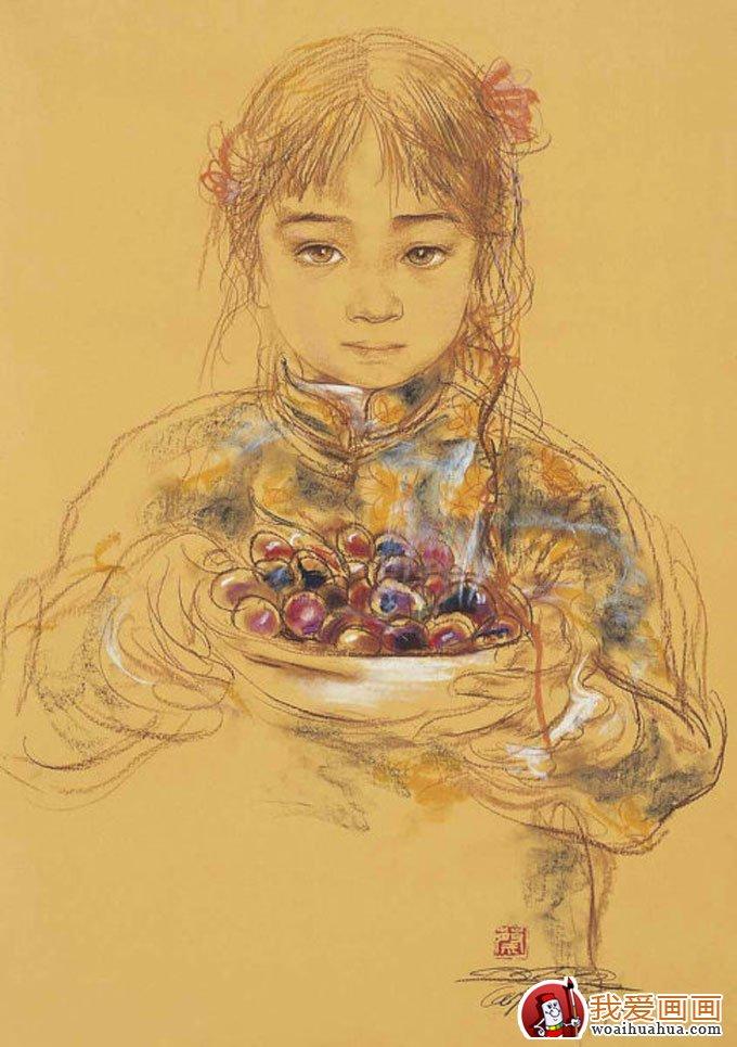 唐晋画室 粉笔画:蔡玉水彩色粉笔画全身人物速写图片集