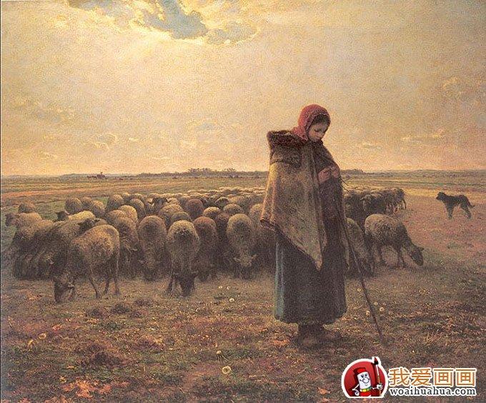 米勒油画作品《牧羊女》高清大图