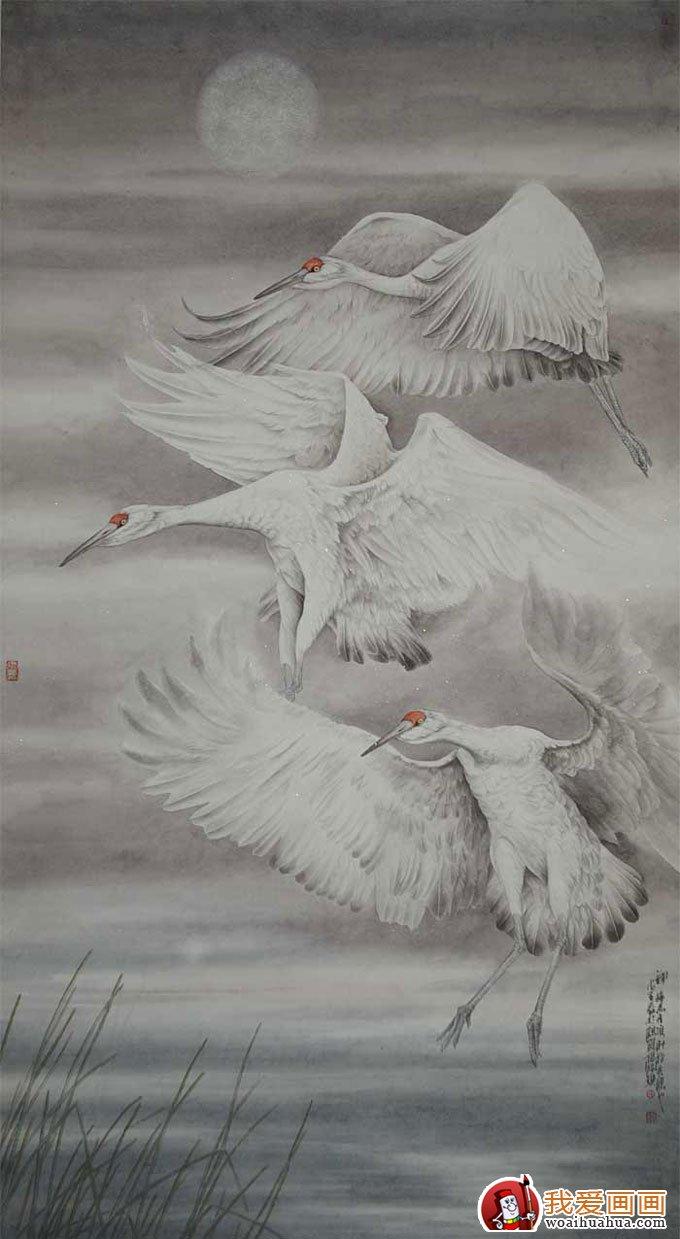 仙鹤国画图片(10p)工笔国画仙鹤精品欣赏(8)