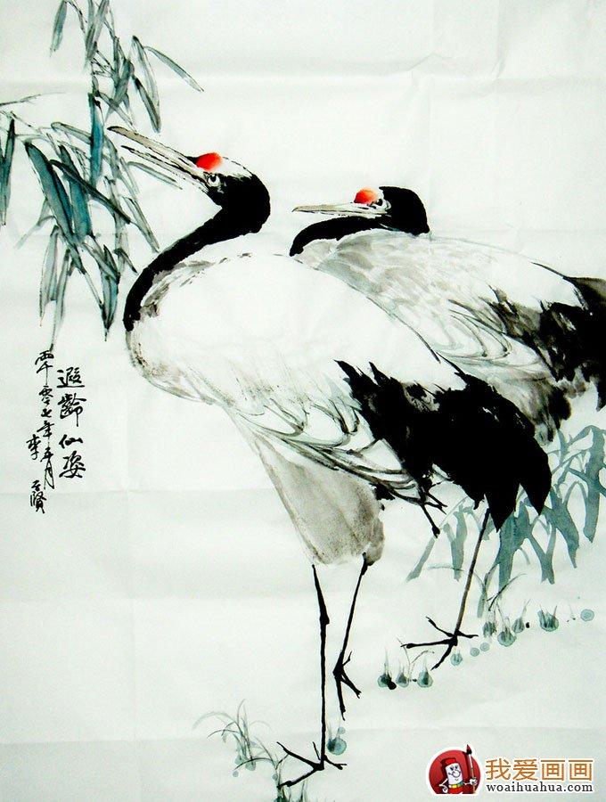 写意仙鹤 写意画仙鹤的精品国画欣赏 5