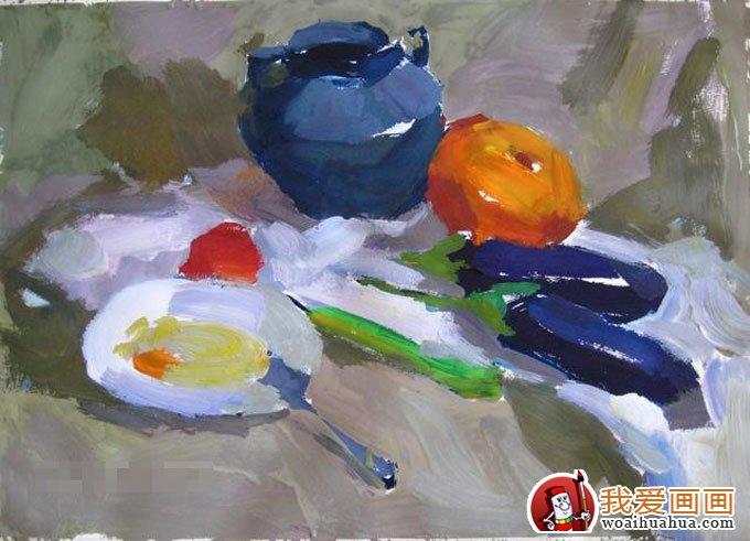 蔬菜组合静物水粉画写生步骤(5)