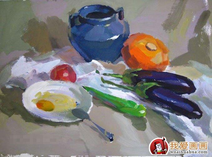 罐子茄子鸡蛋青椒蔬菜组合的静物水粉画教程(11)