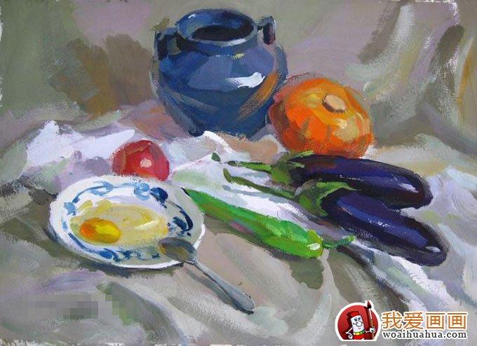 罐子茄子鸡蛋青椒蔬菜组合的静物水粉画教程(13)
