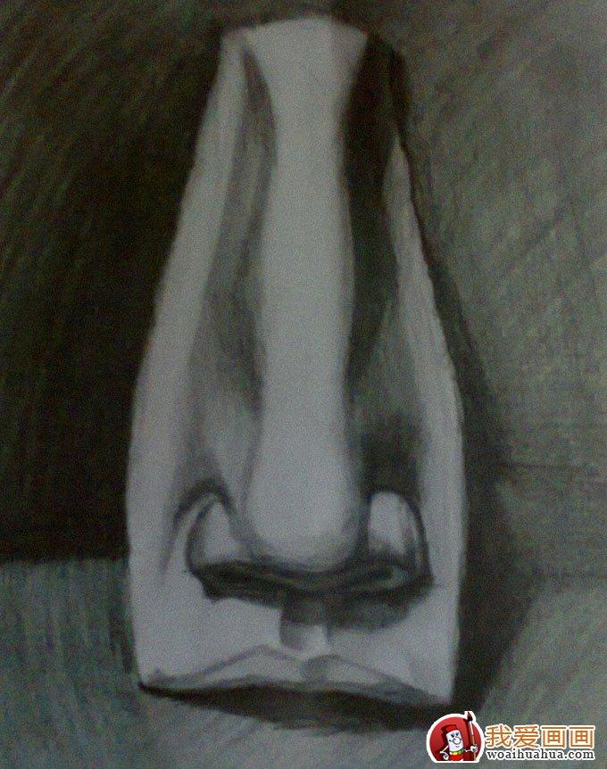 石膏像鼻子的素描画图片:各种鼻子素描(6)