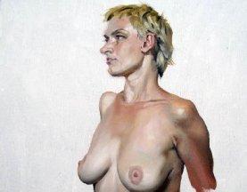 油画人物图片教程:外国妇女人体肖像画作画步骤