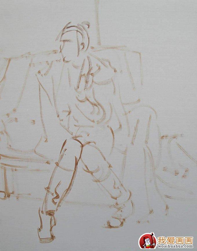 油画人物图片教程:穿靴子的女青年写生作画步骤