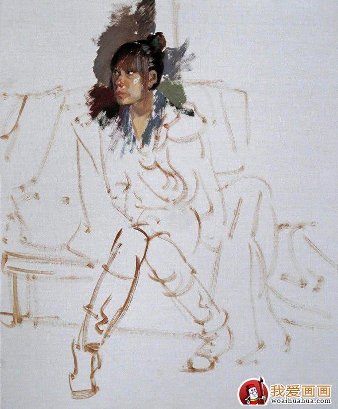 油画人物图片教程:穿靴子的女青年写生作画步骤(2)