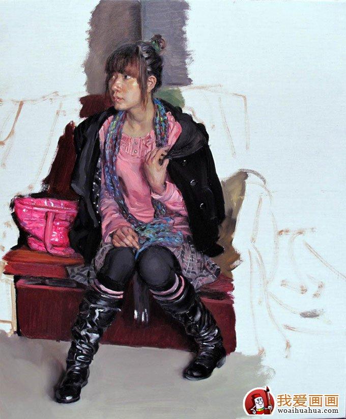 油画人物图片教程:穿靴子的女青年写生作画步骤(6)