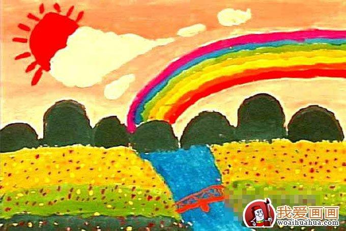 学画画 儿童画教程 儿童水粉画 > 美丽的彩虹,儿童画彩虹的水粉画图片