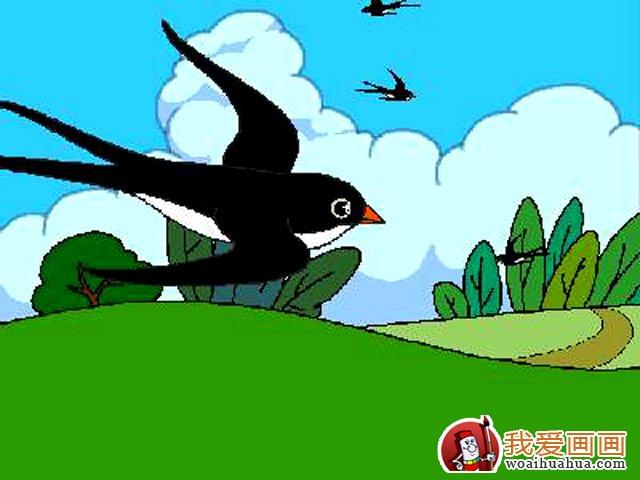 有关燕子,春天,绿草地的儿童画图片作品(3)