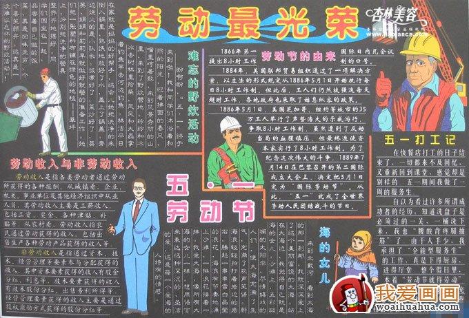 五一劳动节黑板报图片及版面设计资料_儿童画教程_学