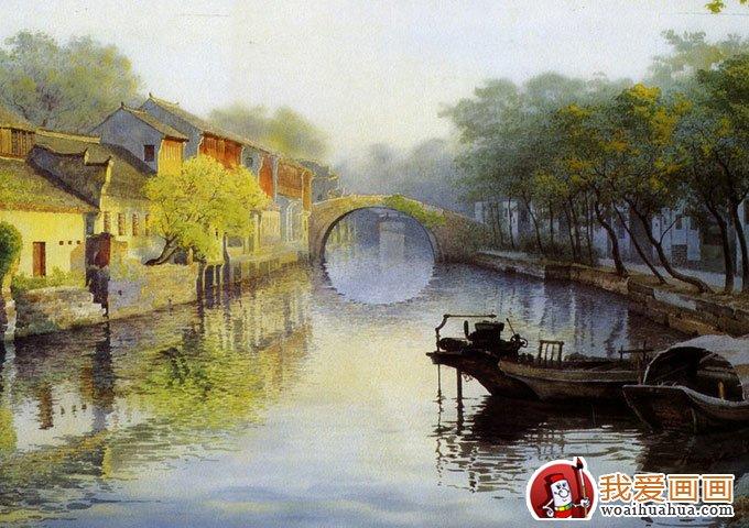 水竞手绘画      壁画 无框画酒店风景装饰画 情系 江南   水乡  油画