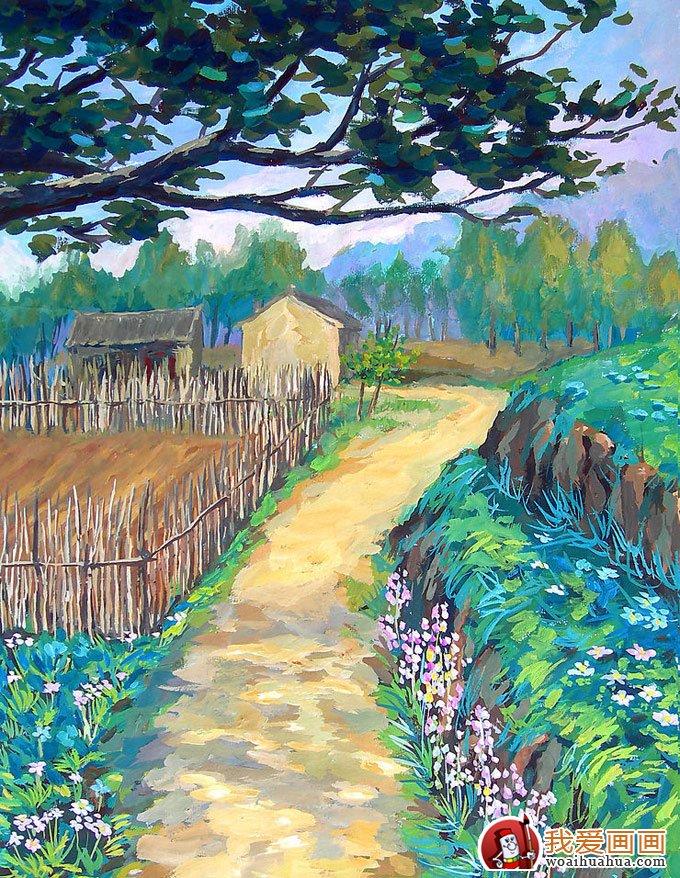 学画画 水粉画教程 水粉画图片 > 风景水粉画:乡村的田间(林间)小路