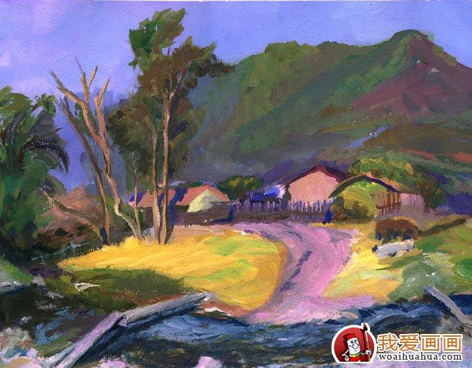 首页 画画图片 水彩水粉画 > 风景水粉画:乡村的田间(林间)小路水粉画
