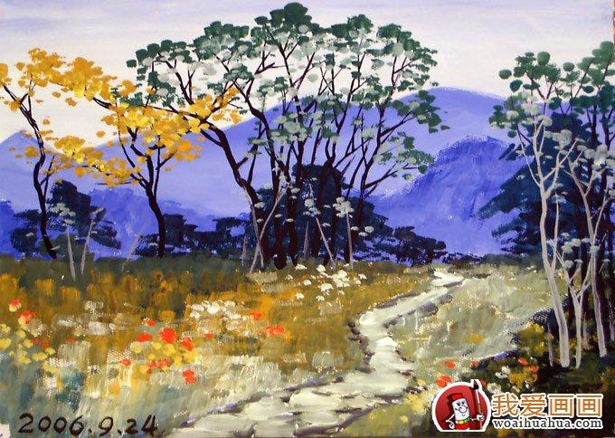 风景水粉画:乡村的田间(林间)小路水粉画图片(7)
