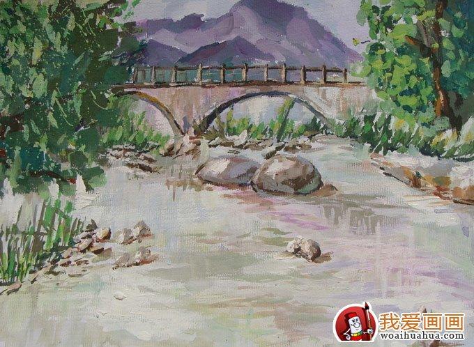 乡村风景水粉画图片 小桥流水水粉写生作品 2