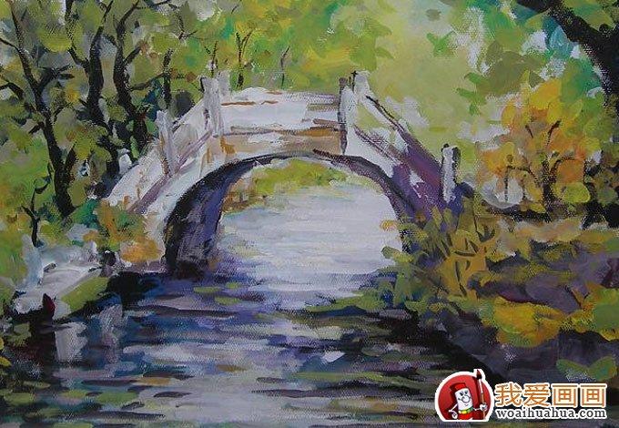 学画画 水粉画教程 水粉画图片 > 乡村风景水粉画图片:小桥流水水粉