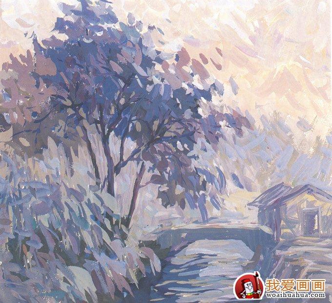 乡村风景水粉画图片 小桥流水水粉写生作品 5